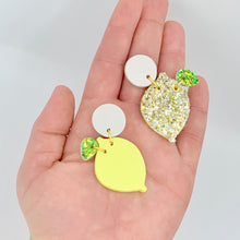 Load image into Gallery viewer, LEMON YELLOW CLAY EARRINGS WITH GLITTER LEAF