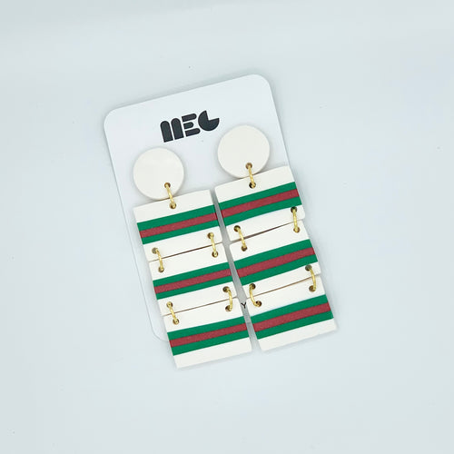 GUCCI STRIPE STEPH CLAY EARRINGS