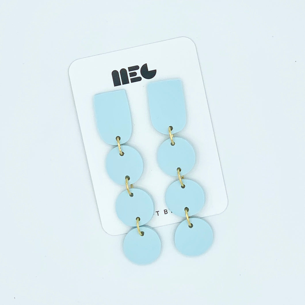 ICE BLUE DOT DOT DOT LONG CLAY EARRINGS