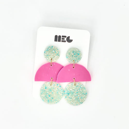 TURQ & PINK GLITTER CAS EARRINGS