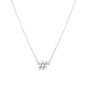 Hashtag (#) pendant with chain (yellow gold)