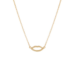 Silhouette Lips Diamond Pendant with Chain (yellow gold)