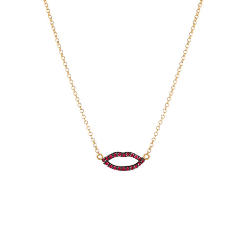 Silhouette Ruby Lips Pendant with Chain