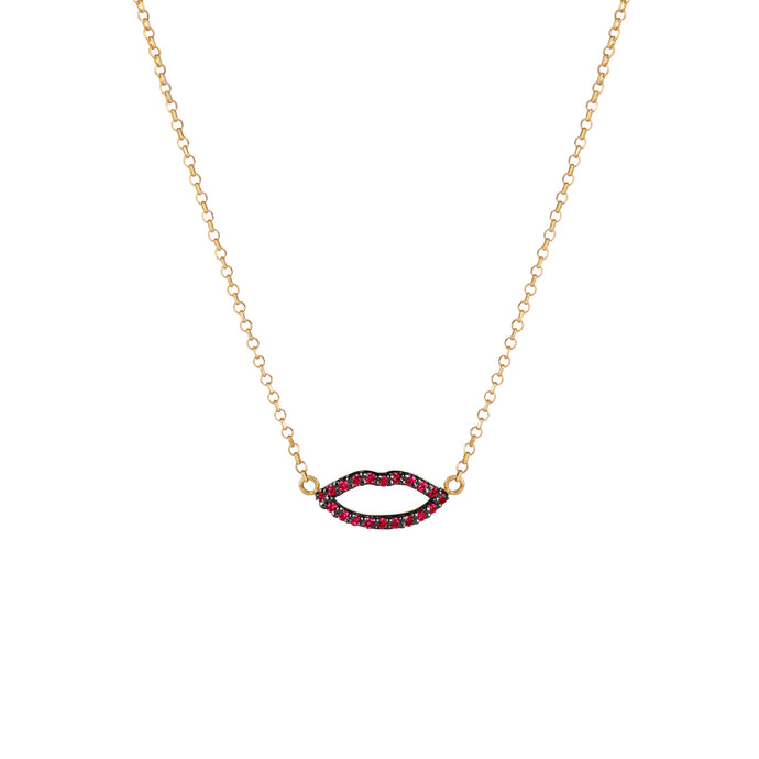Silhouette Ruby Lips Necklace with Chain