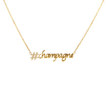 Load image into Gallery viewer, Hashtag (#) Champagne Pendant with Chain (yellow gold)