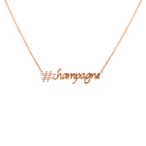 Hashtag (#) Champagne Pendant with Chain