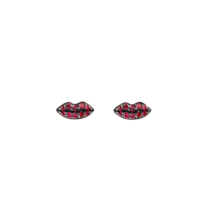 Ruby Lips Single Stud Earring (yellow gold)