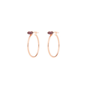 Ruby Lips Single Hoop Earring (yellow gold)