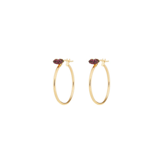 Ruby Lips Hoop Earrings (pair)