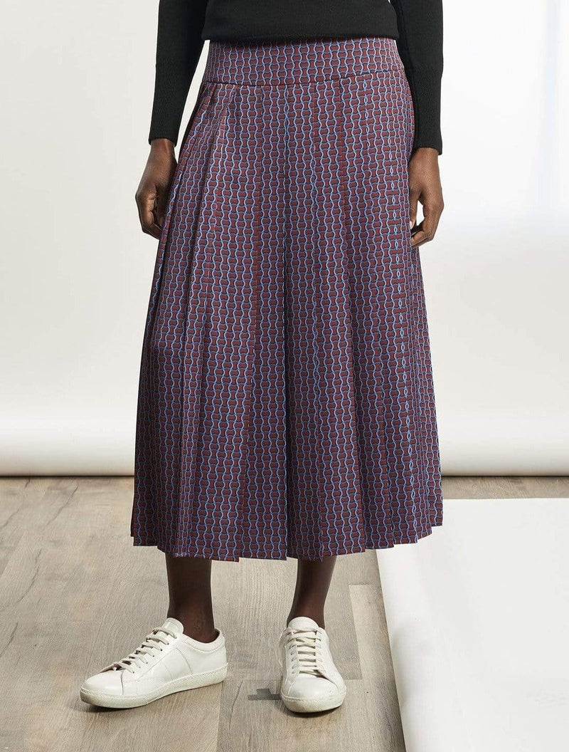 Sienna Pleated Maxi Skirt - Rust Circle Geo Print