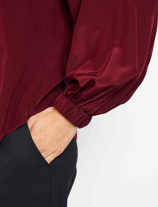 Lauren Silk Gathered Funnel Neck Blouse - Dark Red
