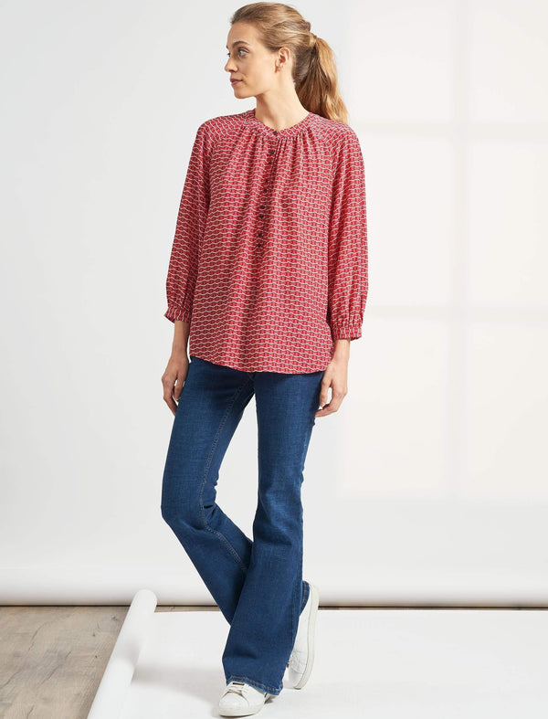 Heidi Silk Collarless Gathered Blouse - Rose Circle Geo Print