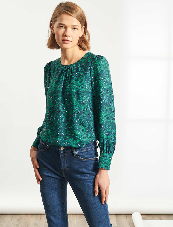 Olivia Puff Sleeve Gathered Detail Blouse  - Petrol Marble Print