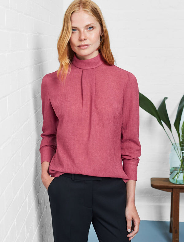 Riley Funnel Neck Blouse - Rose