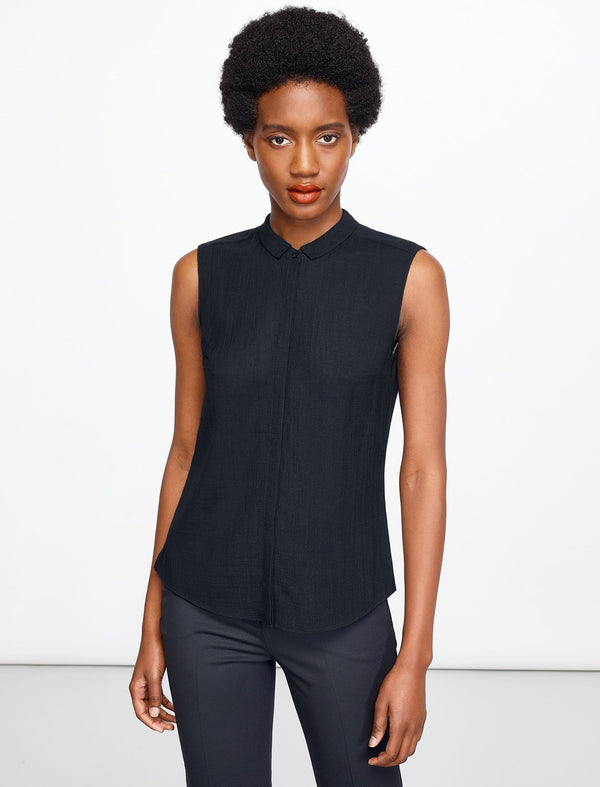 Hailey Sleeveless Shirt With Contrast Piping - Navy