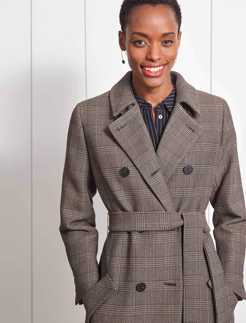 Sullivan Double Breasted Coat - Brown Check