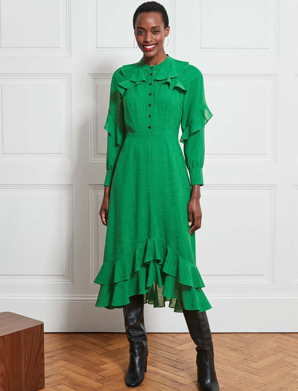 Ava Long Sleeve Ruffle Midi Dress - Emerald Green