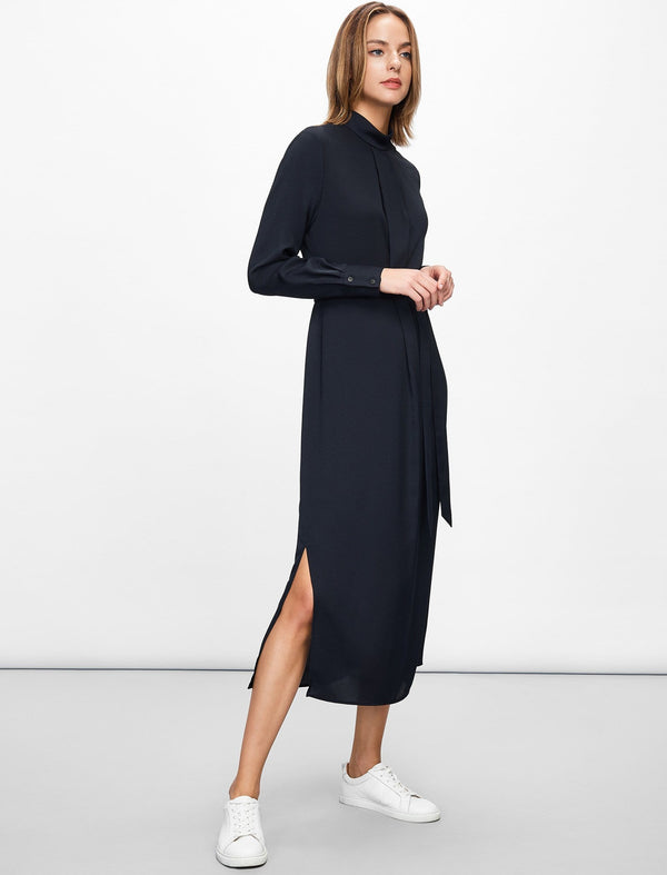 Ellen Funnel Neck Maxi Dress - Navy