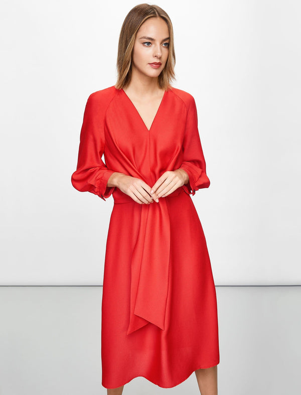 Janis Tie Front Midi Dress - Crimson