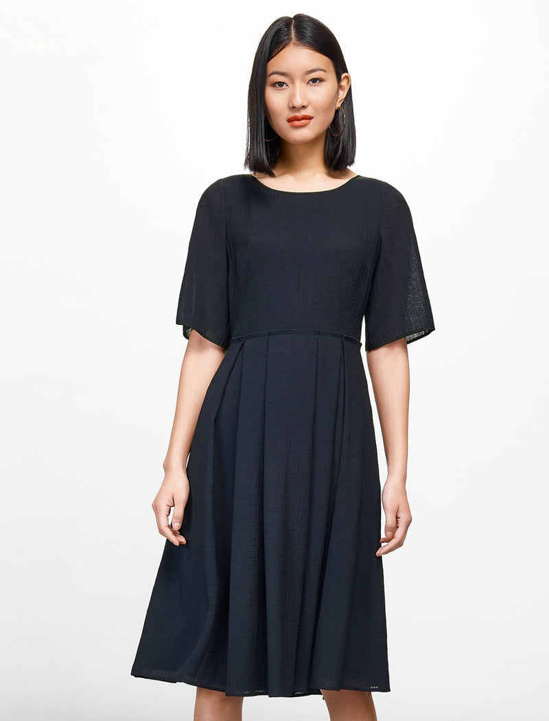 Half Sleeve Knee Length Dress - Navy
