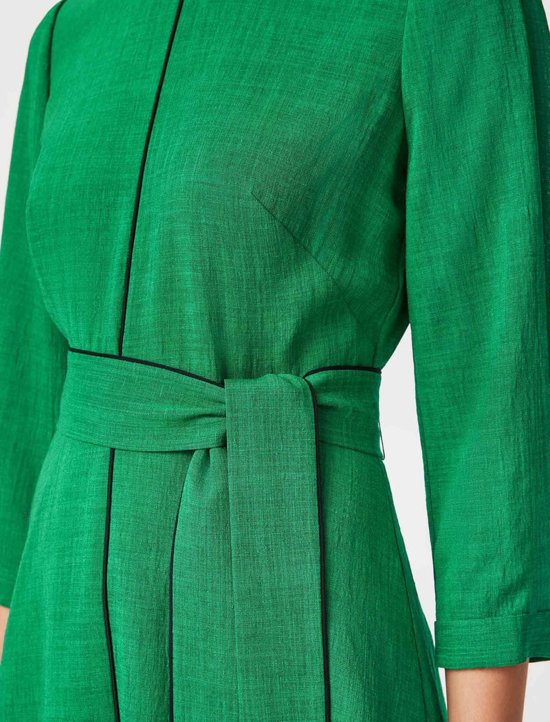 emerald knee length dress