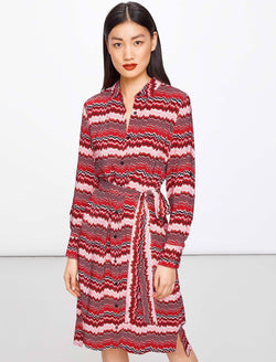 Joey Knee Length Shirt Dress - Crimson Chevron