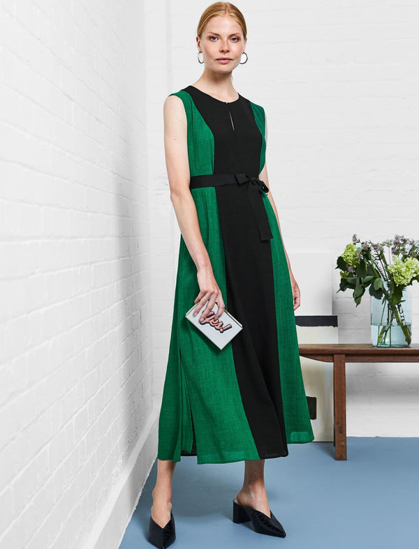 emerald green panel dress