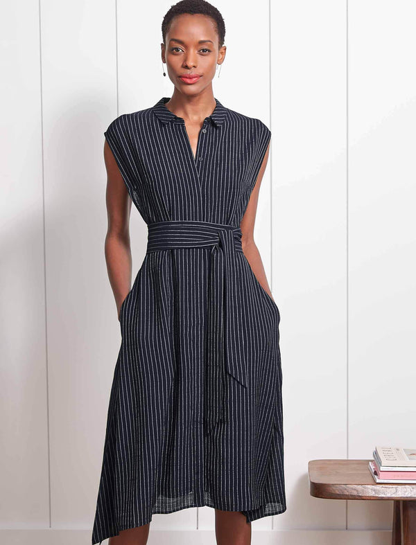 Thea Handkerchief Hem Shirt Dress - Navy/White Pinstripe