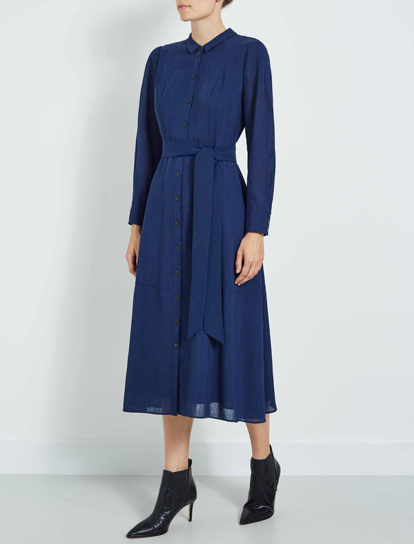Millie Collared Long Sleeve Midi Shirt Dress - Cobalt