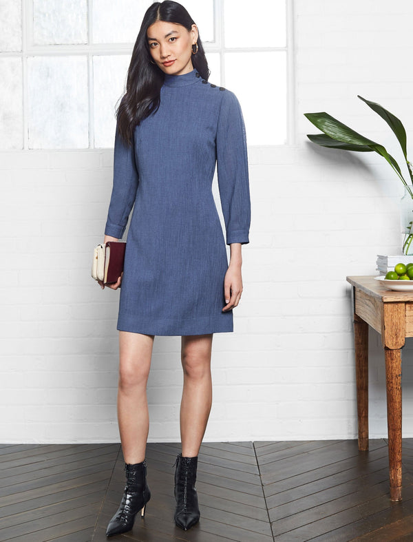 Tegan Button Funnel Neck Shift Dress - Powder Blue