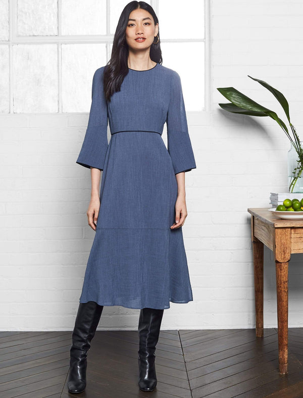 Clara Flute Sleeve Maxi Dress - Powder Blue
