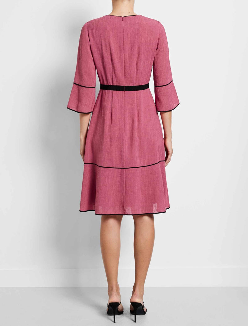 Tyler Tiered A-Line Dress - Rose