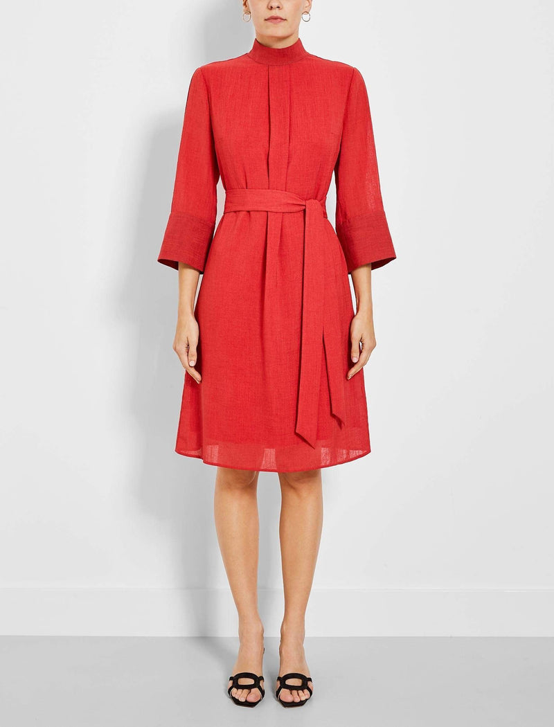crimson red funnel neck dress knee length