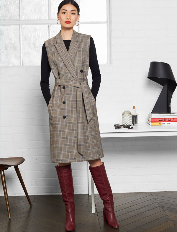 Hudson Sleeveless Double Breasted Coat Dress - Brown Prince of Wales Check