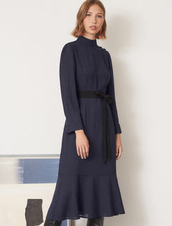 navy button maxi dress