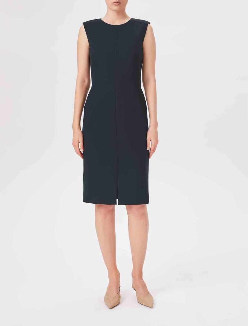Edie Contrast Panel Sleeveless Pencil Dress - Navy