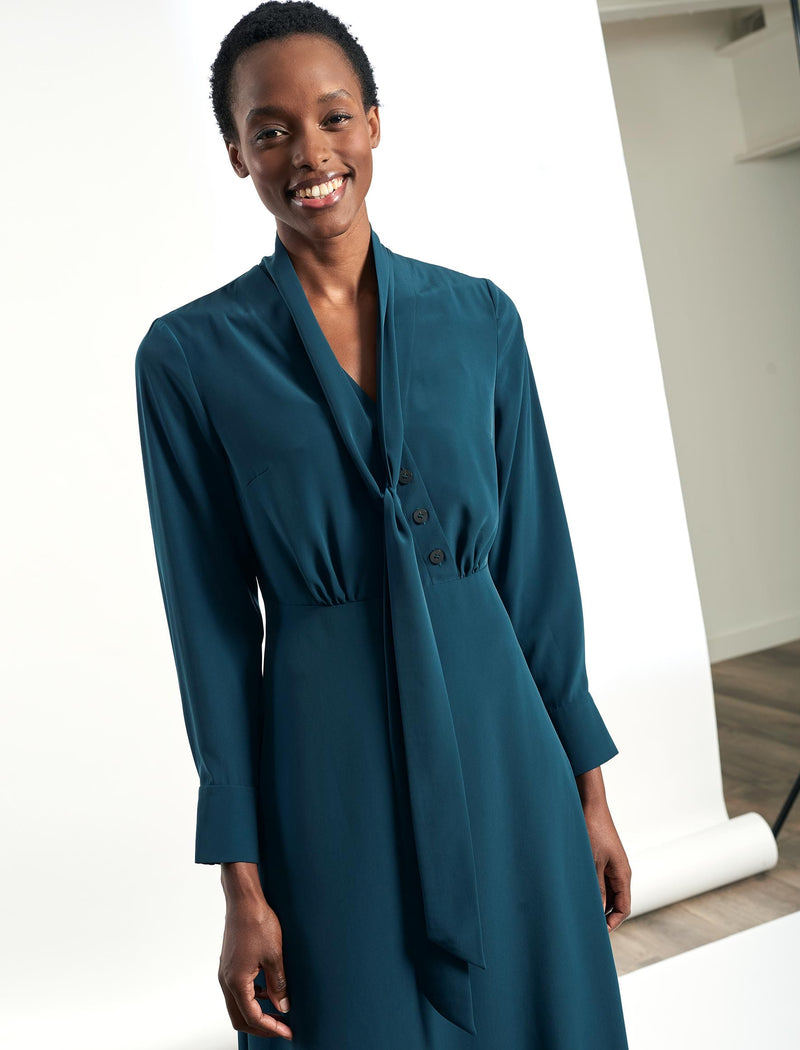 Aurora Long sleeve V-Neck Midi Dress - Petrol Blue