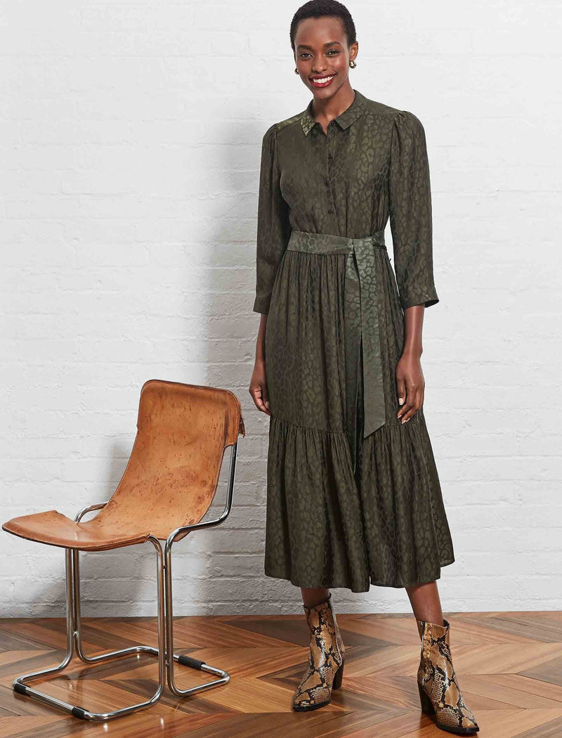 India Silk Blend Belted Shirt Dress - Khaki Leopard Jacquard