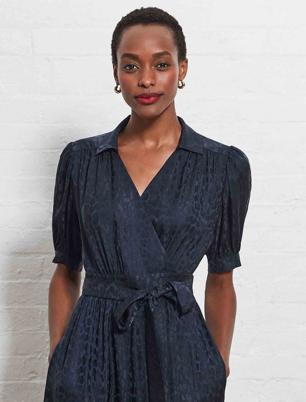 Lola Silk Blend Short Sleeve Wrap Dress - Navy Leopard Jacquard