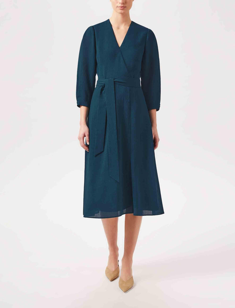petrol blue midi dress