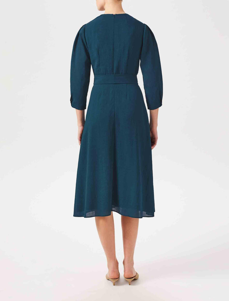 midi dress in petrol blue