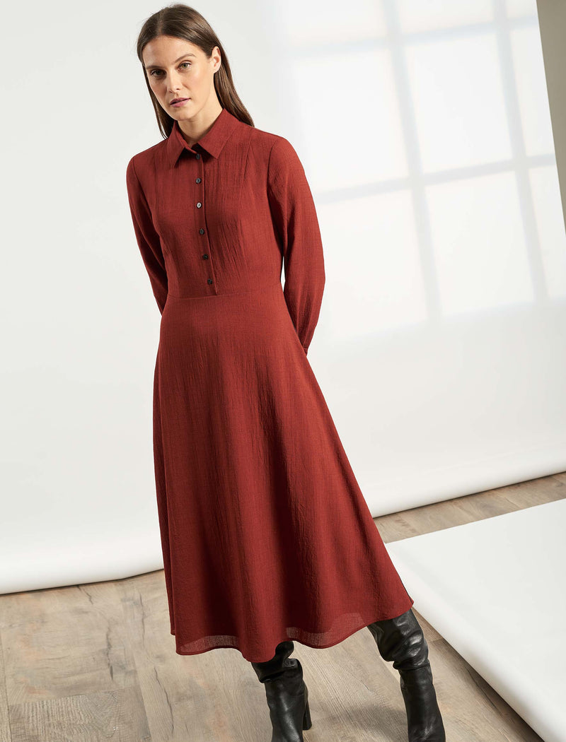 Veronica Collared Long Sleeve Dress - Rust
