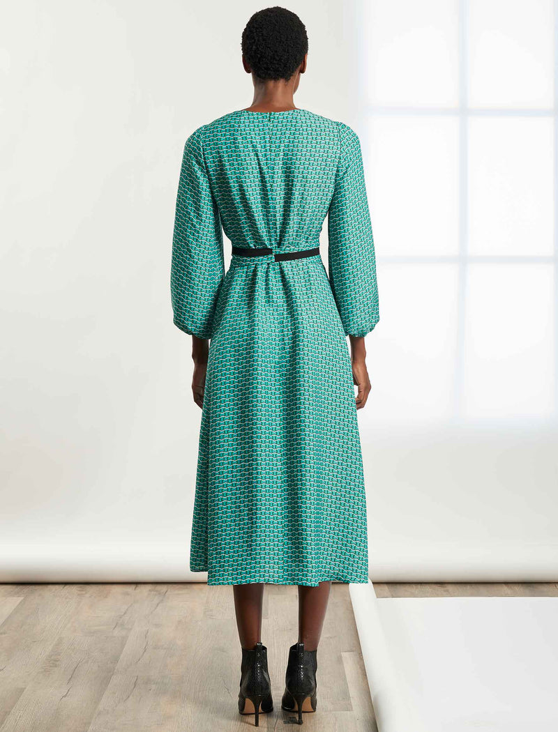 Selma Long Sleeve maxi Dress with Wide Belt - Mint Green Circle Geo