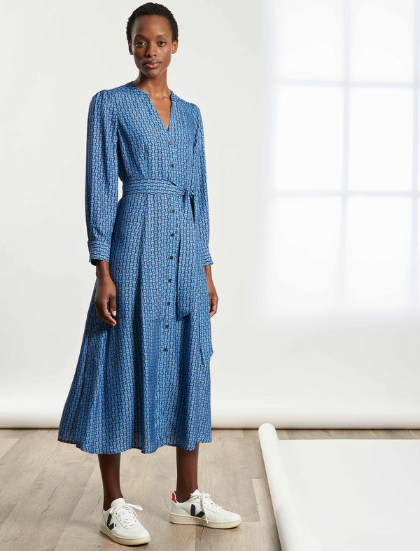 Davika V-Neck Maxi Shirt Dress - Cornflower Blue Circle Geo