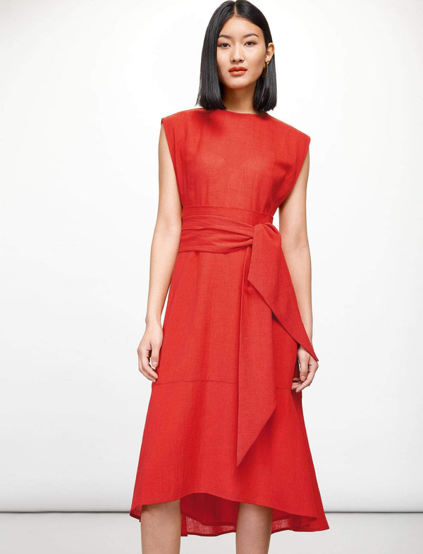 Freya Dipped Hem Midi Dress - Crimson