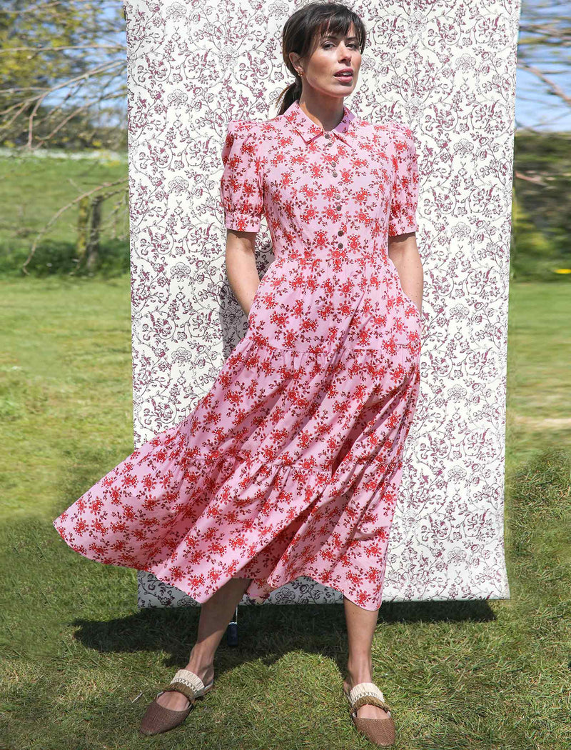 Poppy Tiered Gathered Maxi Shirt Dress with Short Sleeves - Pink/Crimson Floral Print
