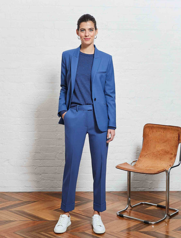 cornflower blue wool blazer