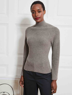 Christie Chunky Knit Funnel Neck Jumper - Taupe