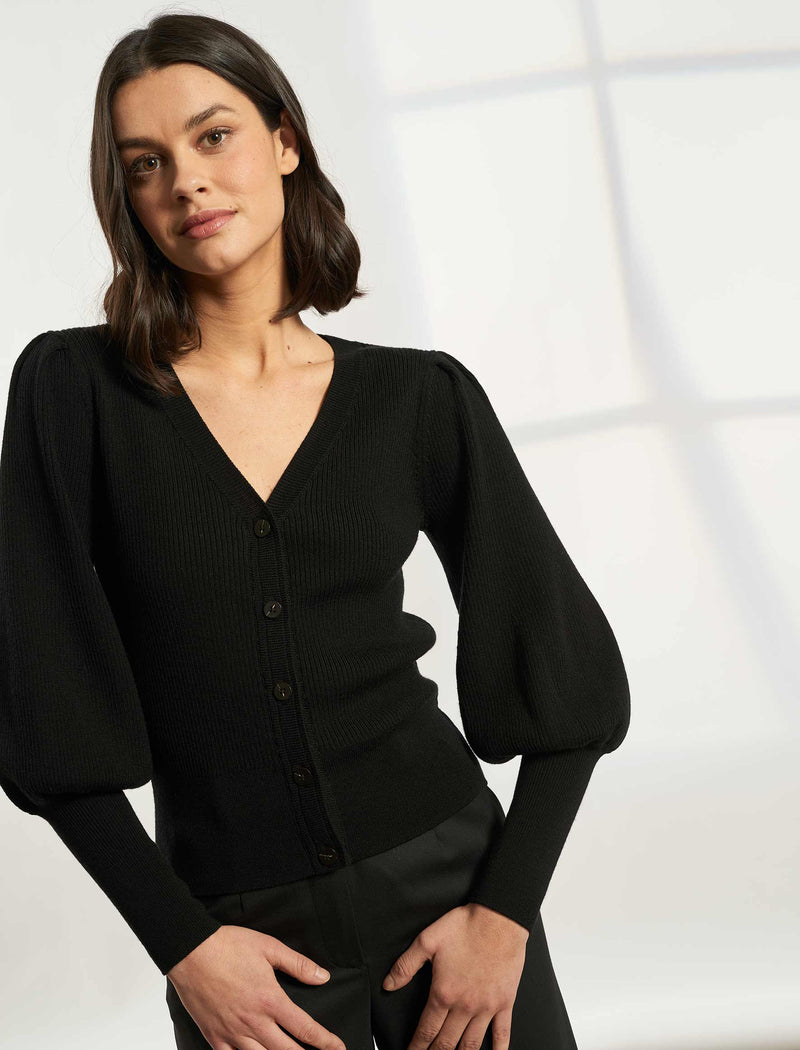Eva Blouson Sleeve Cardigan - Black