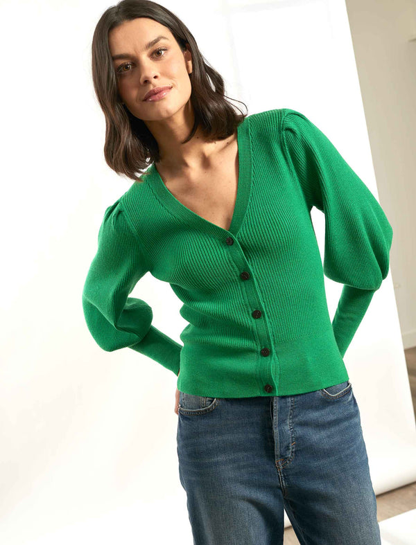 Eva Blouson Sleeve Cardigan - Emerald Green
